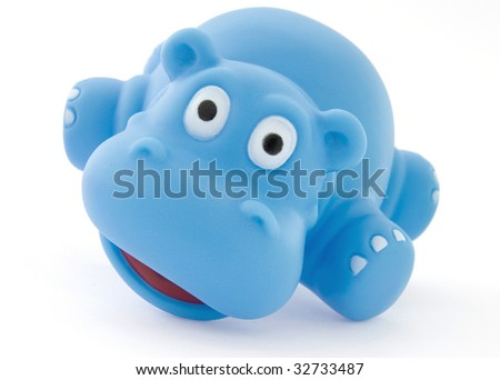 plastic toy hippo - stock photo