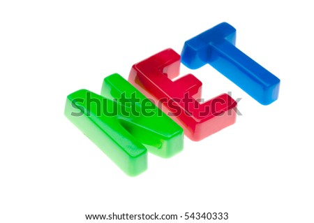 Plastic toy magnetic letters spelling NET - online education - stock photo
