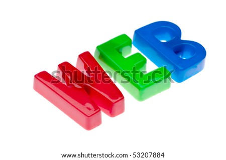 Plastic toy magnetic letters spelling WEB - online education - stock photo