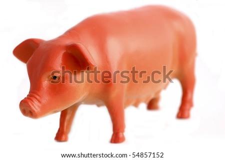 Plastic toy pig - stock photo