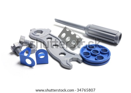 Plastic Toy Tools on White Background