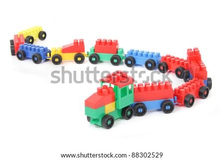 plastic toy train isolated on the white background - stock photo