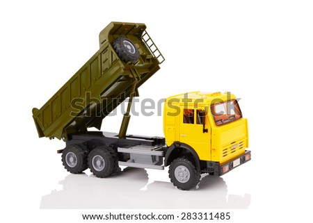 plastic toy truck isolated on white background - stock photo
