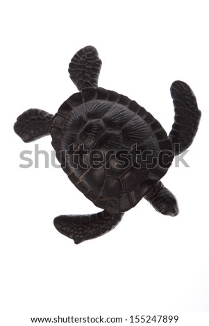 Plastic toy turtle isolated on white - stock photo