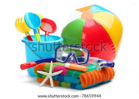 Plastic toys and diving equipment.Isolated on white background. - stock photo