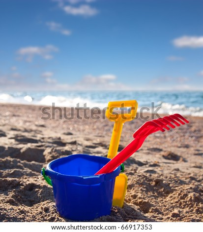 Plastic toys for playing on beach and vacation - stock photo