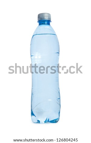 plastic transparent blue Bottle of water isolated on white background