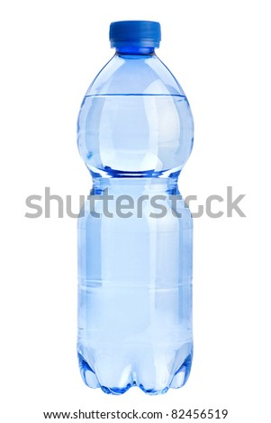 Plastic transparent  bottle closeup isolated on white