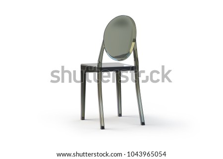 Superieur Plastic Transparent Chair. Modern Dark Green Chair On White Background With  Shadows. 3d Render