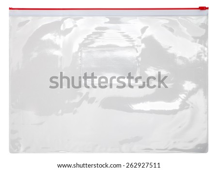 Plastic transparent zipper bag isolated on white background - stock photo