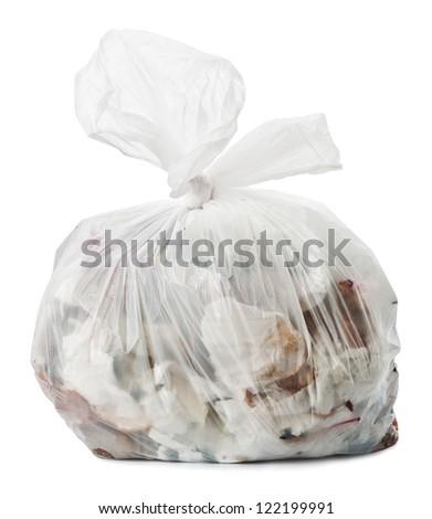 Plastic trash bag on white background - stock photo