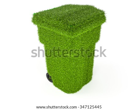 Plastic trash can. 3d photo realistic render - stock photo