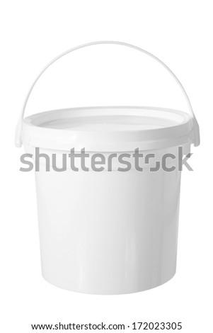 Plastic Tub on White Background - stock photo
