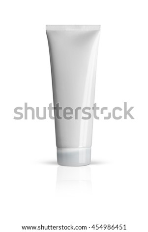 Plastic tube for cosmetics and body care. Isolated on a white background. With clipping path.