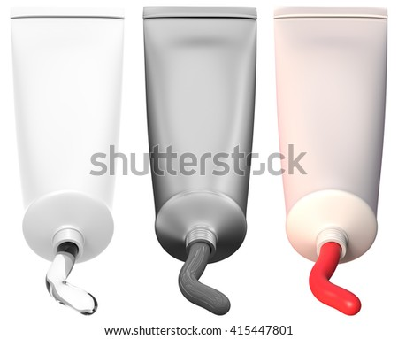 Plastic tube isolated on white. 3D rendering - stock photo
