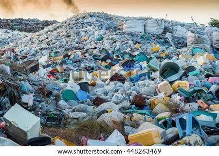 Plastic waste dumping site - stock photo