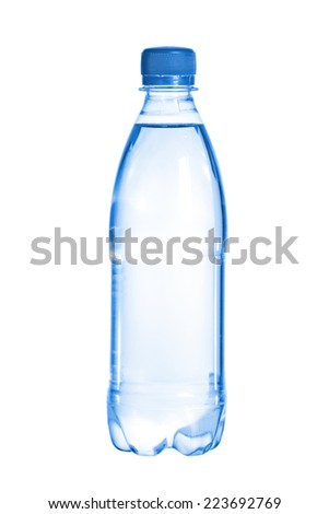 Plastic water bottle  against white background - stock photo
