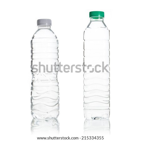 Plastic water bottle isolate on over white background - stock photo