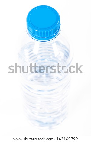 Plastic water bottle, isolated on white background.
