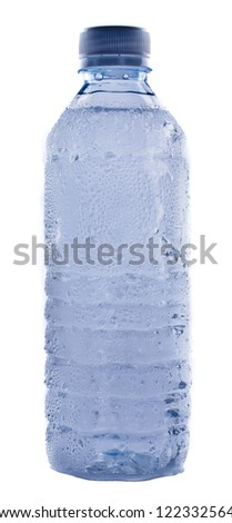 Plastic water bottle shows condensation