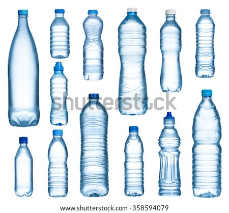 Plastic water bottles set isolated on white background - stock photo
