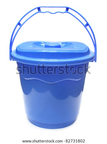 Plastic water bucket over white background
