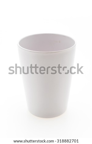 Plastic Water glass isolated on white background