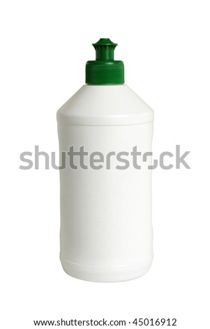 Plastic white bottle isolated on the white background - stock photo