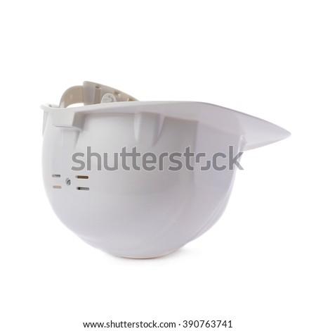 Plastic white safety helmet over isolated white background - stock photo