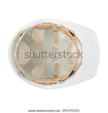 Plastic white safety helmet over isolated white background