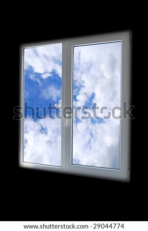 plastic window in black room with view to sky