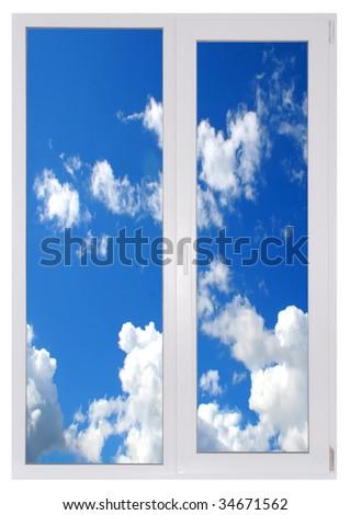 plastic window new in room with sky - stock photo