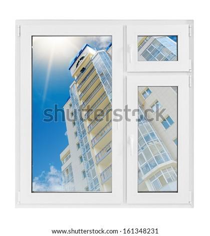 Plastic window with building - stock photo