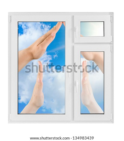 Plastic window with hand on white background - stock photo