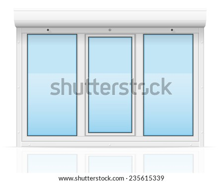 plastic window with rolling shutters illustration isolated on white background - stock photo