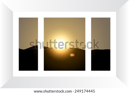 Plastic window with view to sunset landscape