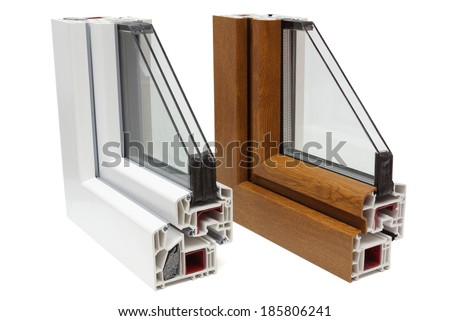 plastic windows profiles - stock photo