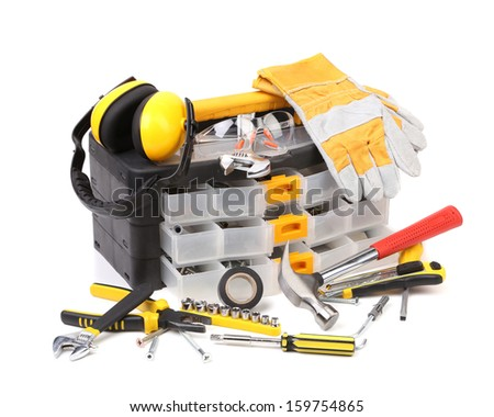 Plastic workbox with assorted tools. Isolated on a white background. - stock photo