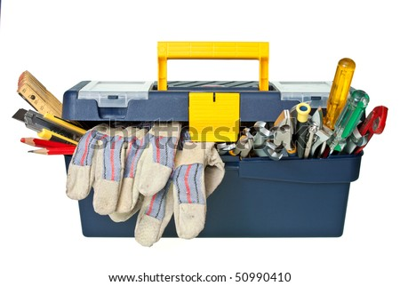Plastic workbox with assorted tools on white background - stock photo
