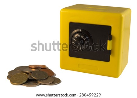 Plastic yellow safe isolated on a white background - stock photo