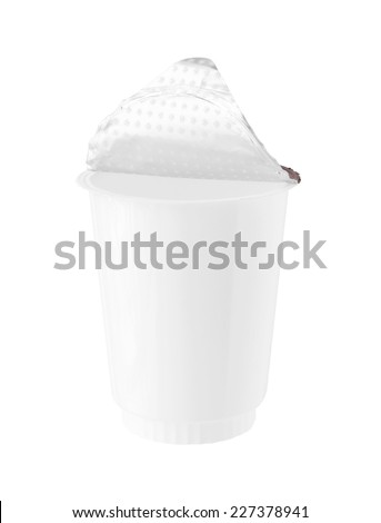 Plastic Yogurt Cup Foil Cover isolated on white background - stock photo