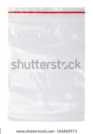Plastic zipper bag, Isolated on white - stock photo