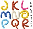 Plasticine alphabet isolated over white background, Lettrs J - R - stock photo