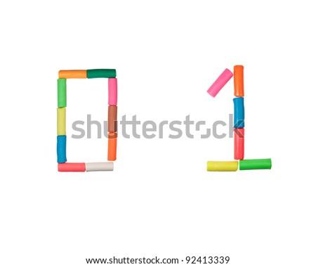 Plasticine alphabet letter number stick on white back ground(0,1) - stock photo