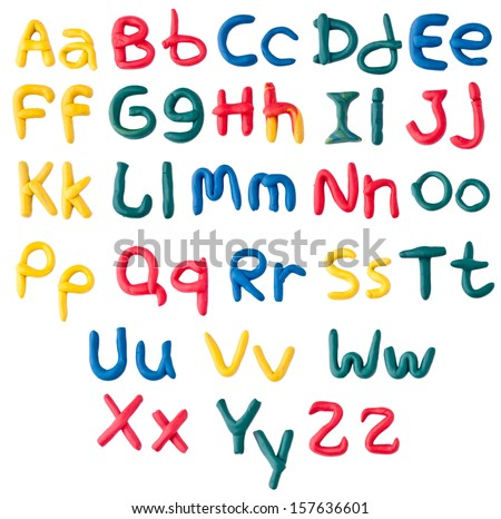 Plasticine alphabet over white - stock photo