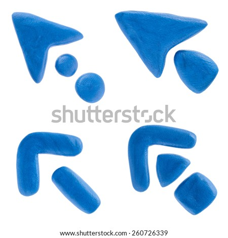 Plasticine arrows isolated on white. - stock photo