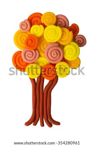 plasticine autumn tree isolated on white background - stock photo