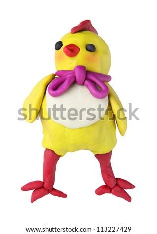 plasticine baby chicken on the white background - stock photo