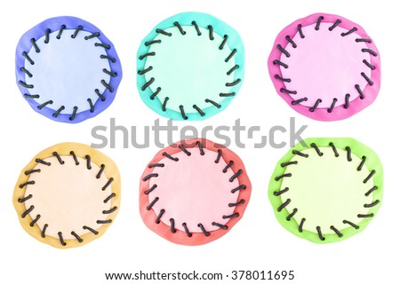 plasticine bubble set isolated on white - stock photo