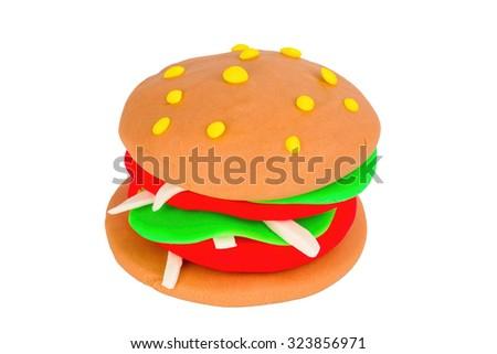 Plasticine burger. Stock Image macro. - stock photo